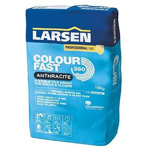 Larsen Colourfast 360 Anthracite Flexible Wall And Floor Grout 10kg