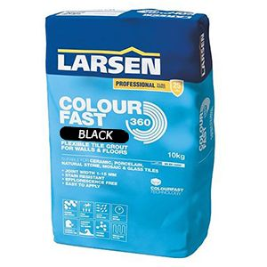 Larsen Colourfast 360 Black Flexible Wall And Floor Grout 10kg