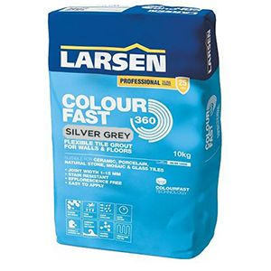 Larsen Colourfast 360 Silver Grey Flexible Wall And Floor Grout 10kg